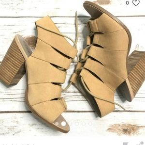 hinge leather lace up sandals